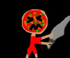 Evil pizza brandishing a machete