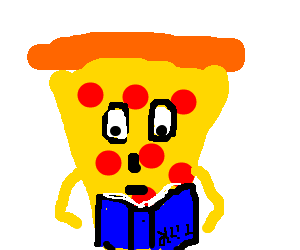 A Pepperoni Pizza man reads an upside-down book