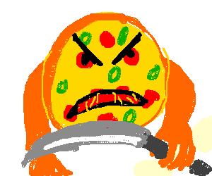 A badass Pizza holding a knife