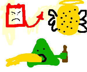 An evil square, holy sponge, and triangle drunk