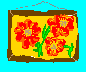 Art showing three red flowers
