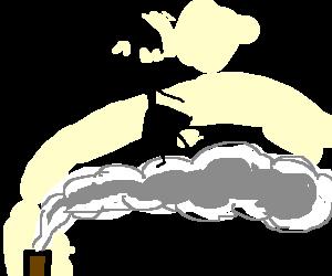 Dark Mary Poppins rides across the chimney smoke
