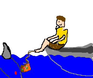 guy fishing with toe and sandwich, shark coming