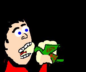 man about to eat mini Scottish dragon