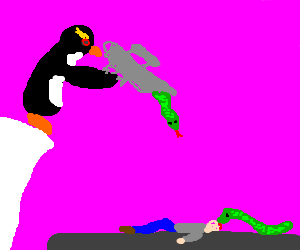 Penguin shoots man with snake gun. man dies