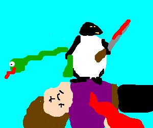 Penguin attacks man with snake gun.