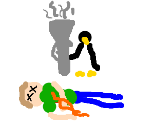 giant pinguin kill a guy with a basuka
