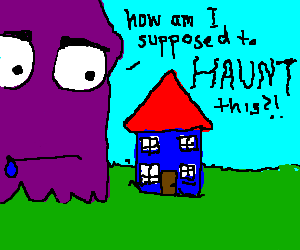 Derp purple ghost doesnt know how to haunt house