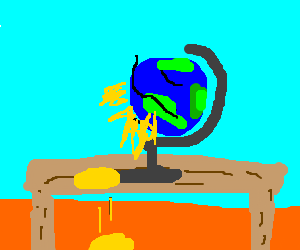 Spinning a globe leaks yellow.