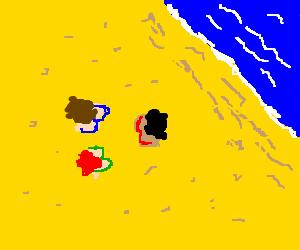3 girls in bikini seen from above