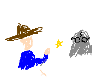 A sherrif throws his star on a Harry Potter rock