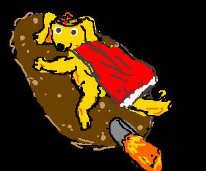 King Dog rides the potato rocket