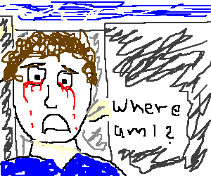 Man crying blood because he's lost