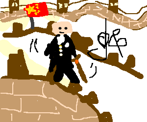Tuxedo'd man wit cane dance down the great wall