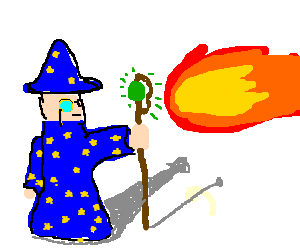 Wizard kills with normal fire not the green kind