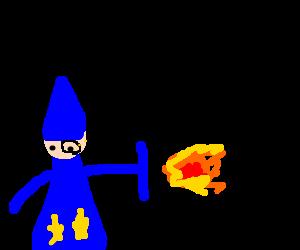 Monacle-wearing wizard calmly deflects fireball