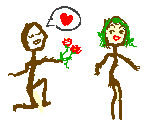 Stickman professes love to stickwoman, flowers.