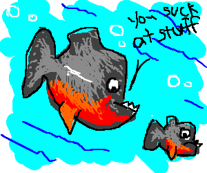 Pirahna fish berates his son
