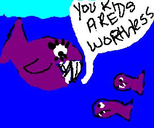 Momma Piranha verbally abuses her kid.