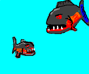 vampire-piranhas idle in the sea