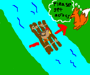 Chiken slowly crosses river on raft. Fox anxious