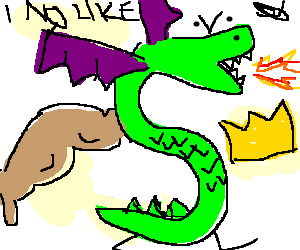 S-shaped dragon w/ one strong arm dislikes crown