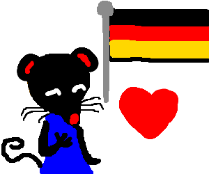 Black stereotype mouse who also loves Germany