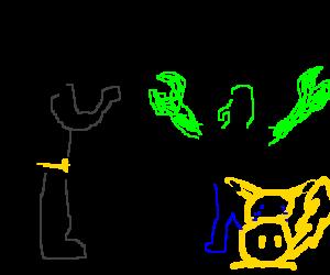 Batman + green zoidberg fight, makes pikachu cry