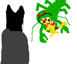 batman observes green lobster eating pikachu