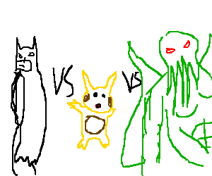 Drawception's big 3: Batman vs.Cthulu vs.Pikachu