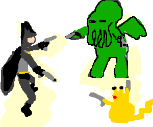 Pikachu in 3 way fight with Cthulu and Batman
