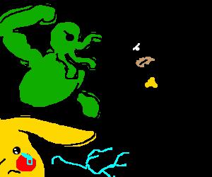 Pikachu cries because Cthulu and Batman fought