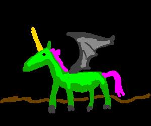 batwinged greenskined pinkhaired Unicorn