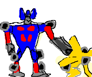 Optimus shoots Bumblebee in the back