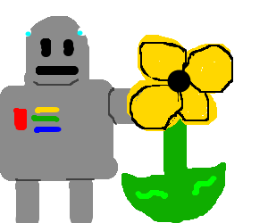 Robot sticking his arm in a yellow flower.