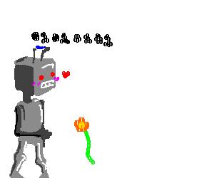 Robots binary love flower