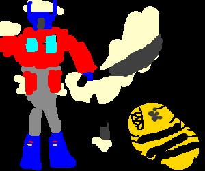 Optimus Prime fights Bumblebee