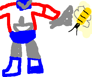 OptimusPrime in a knife-fight with a bee