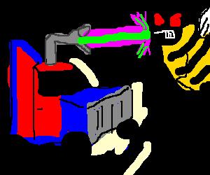 Optimus Prime battles African Killer Bees