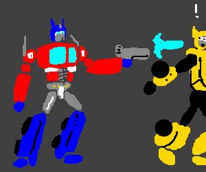 Optimus Prime shoots laser at Bumblebee
