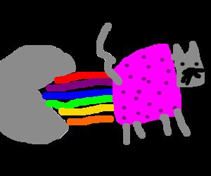 Gray Pac-Man eats Nyan cat's rainbow trail