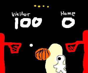 100 - 0, 2 man basketball game