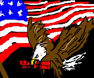 USA's eagle hold a bomb