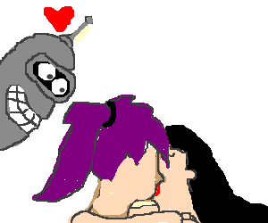 Amy and Leela make out,Bender likes what he sees
