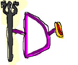 Letter d holding a trident and a hotdog