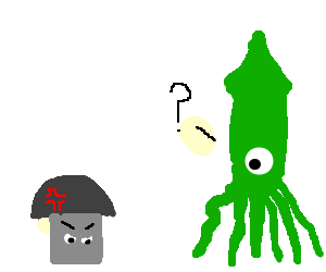 Green squid finds angry mushroom