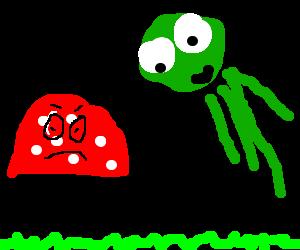 mushroom does not like flying squid