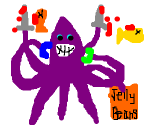 Double murdering purple octopus eats jelly beans
