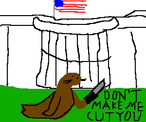 The White House is threatened by a seal on lawn.