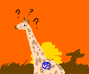 Puzzled Giraffe with a sad face tattoo